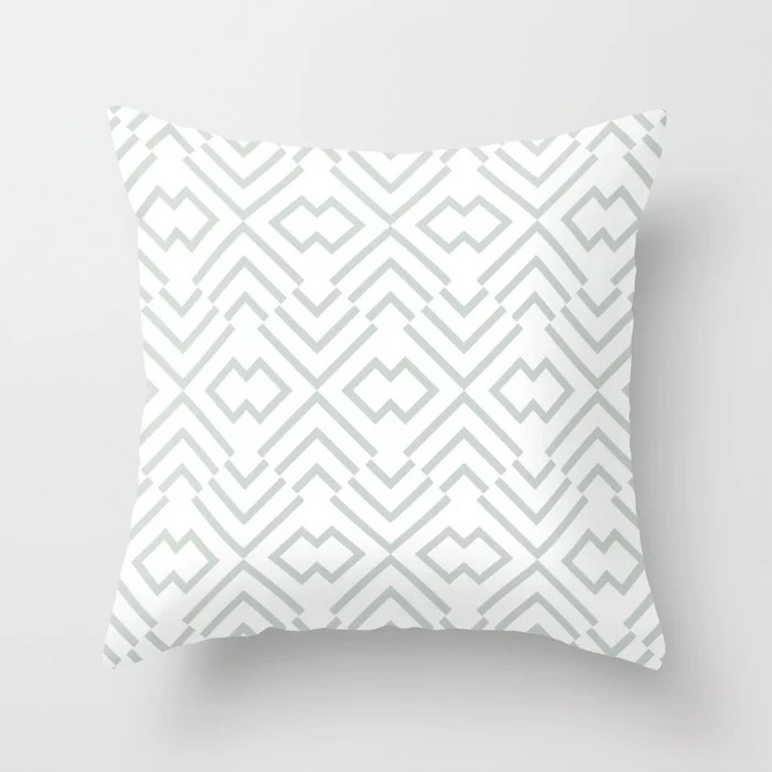 Mint Green and White Art Deco Shape Pattern Behr 2022 Color of the Year Breezeway MQ3-21 Throw Pillow. 2022 color scheme, trending interior design hue.