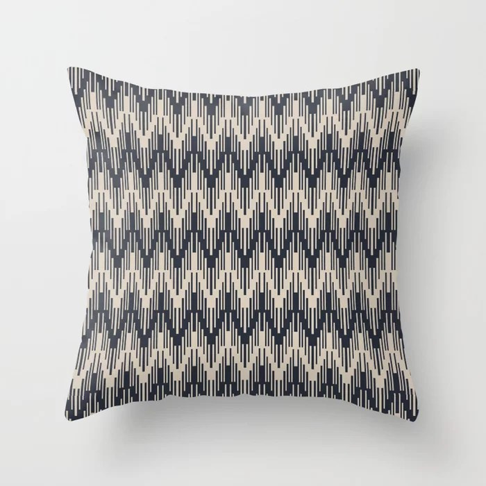 Light Beige and Blue Chevron Ripple Pattern: Hues were inspired by and match (pair / coordinate with) 2021 Color of the Year Uptown Ecru & Classic Navy Throw Pillow