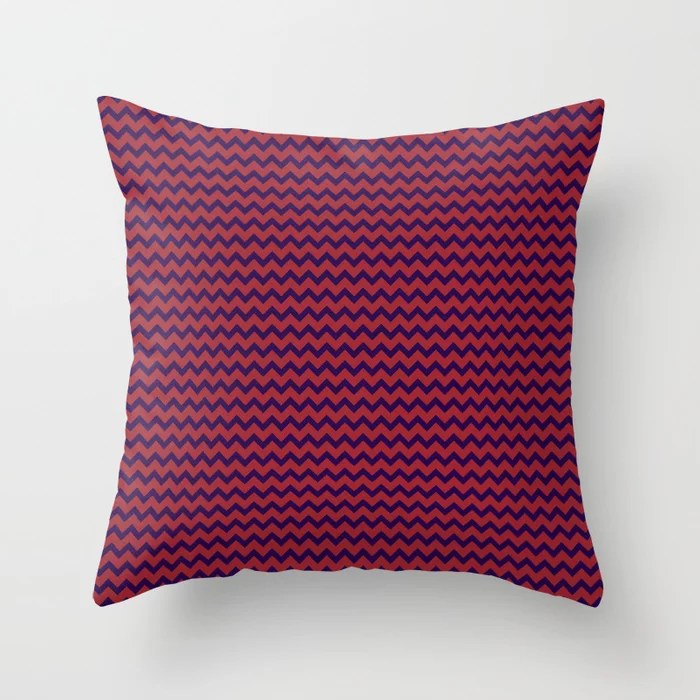 Red and Purple Chevron Pattern Rustoleum 2021 Color of the Year Satin Paprika and Purple Throw Pillow