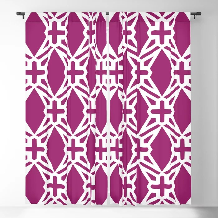 Magenta and White Geometric Shape Tile Pattern - Colour of the Year 2022 Orchid Flower 150-38-31 Blackout Curtain - 2022 color trends interior design