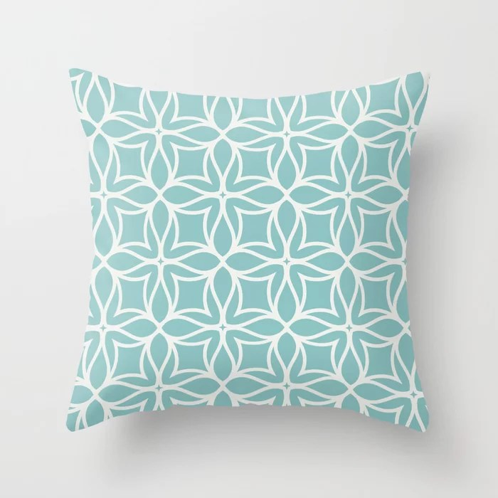 Pastel Teal and White Line Art Flower Pattern 2021 Color of the Year Aqua Fiesta & Delicate White Throw Pillow