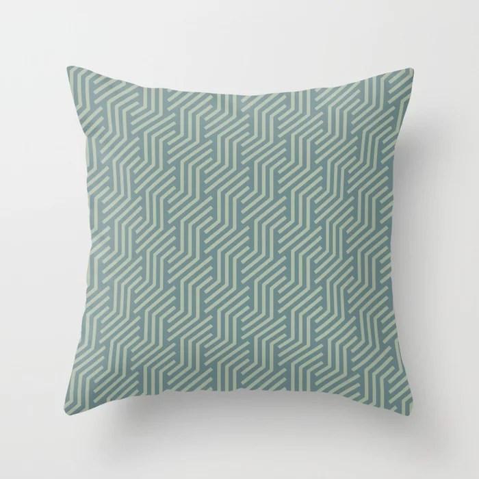 Soft Aqua Blue Green Tessellation Line Pattern 21 2021 Color of the Year Aegean Teal Salisbury Green Throw Pillow