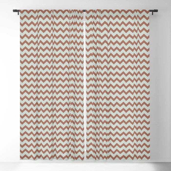 Pastel Green and Clay Chevron Zig Zag Pattern Pairs Behr 2022 Color of the Year Breezeway MQ3-21 Blackout Curtain. Spring/Summer 2022 color forecast
