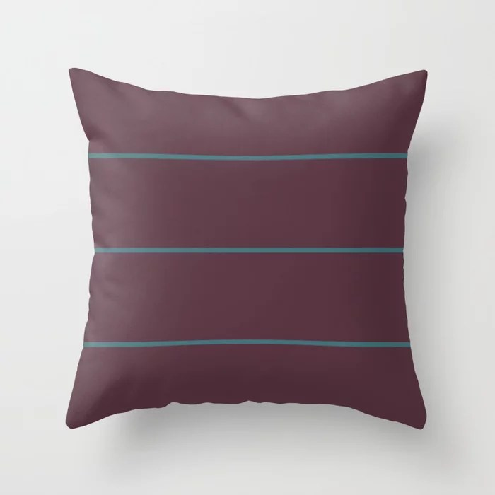 Deep Purple Aqua Sponge Thin Stripe Pattern Pairs 2021 Color of the Year Epoch and Whale Tail Throw Pillow