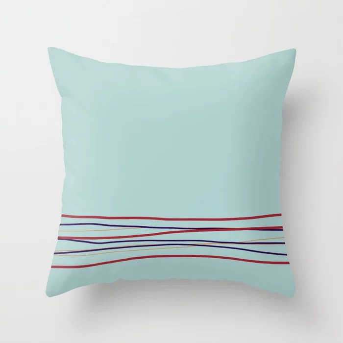 Multi Colored Scribble Line Design Bottom V4 Rustoleum 2021 Color of the Year Satin Paprika & Accent Throw Pillow