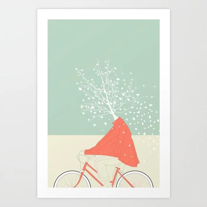 Sunday's Society6 | Color block drawing woman bike tree art print