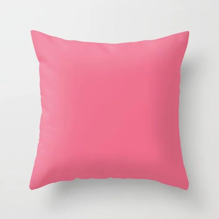 Solid Color - Pantone Pink Lemonade 16-1735 Throw Pillow