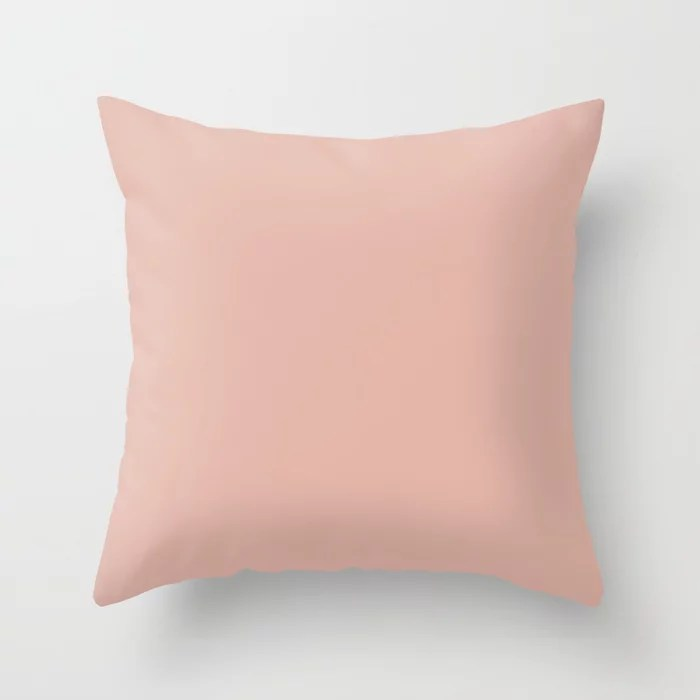 Sunset Pastel Pink Peach Solid Color Coordinates w/ Sherwin Williams Mellow Coral SW 6324 Throw Pillow