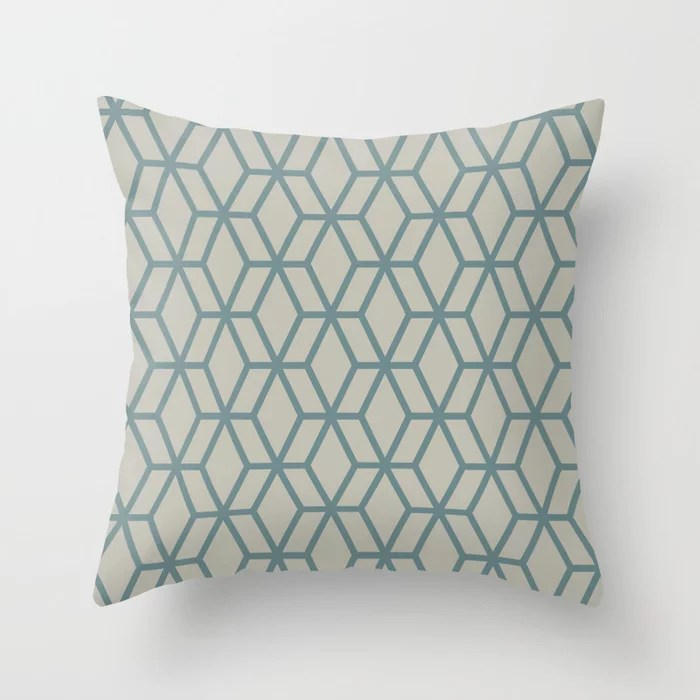Aqua and Tan Geometric Tessellation Pattern 16 2021 Color of the Year Aegean Teal and Winterwood Throw Pillow