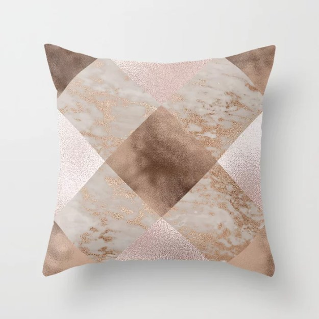 Copper and Blush Rose Gold Marble Gingham by UtArt
