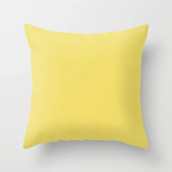 Midsummer Yellow Solid Color Pairs Coloro 2021 Color Of The Year Accent Shade Lemon Sherbet Throw Pillow