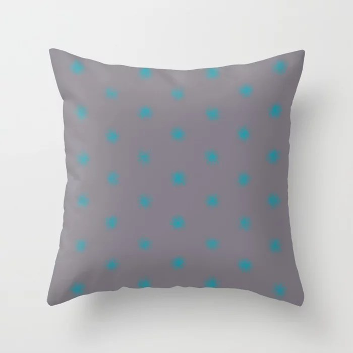 Blue-Green Gray Splatter Polka Dot Pattern 2021 Color of the Year AI Aqua 098-59-30 Throw Pillow