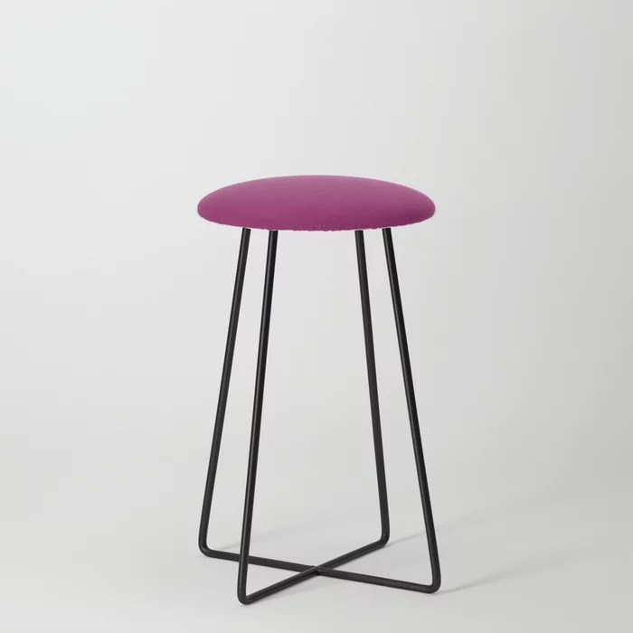 Orchid Flower Deep Pink Purple Solid Color 2022 Colour of the Year Counter Stool. 2022 color trend - color scheme