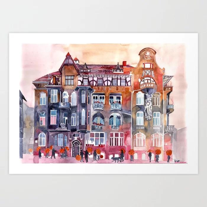 Sunday's Society6 | Watercolor apartment house art print