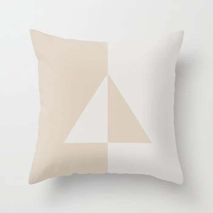 Light Beige White Minimal Triangle Design: Hues were inspired by and match (pair / coordinate with) 2021 Color of the Year Uptown Ecru & Gesso White Throw Pillow