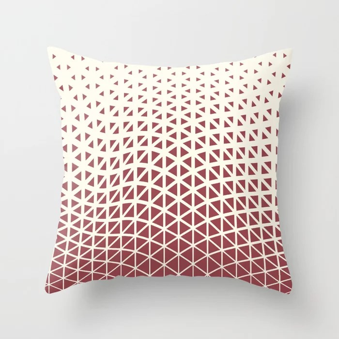 Red and Off White Geometric Triangle Wave Pattern 2021 Color of the Year Passionate & Bohemian Lace Throw Pillow