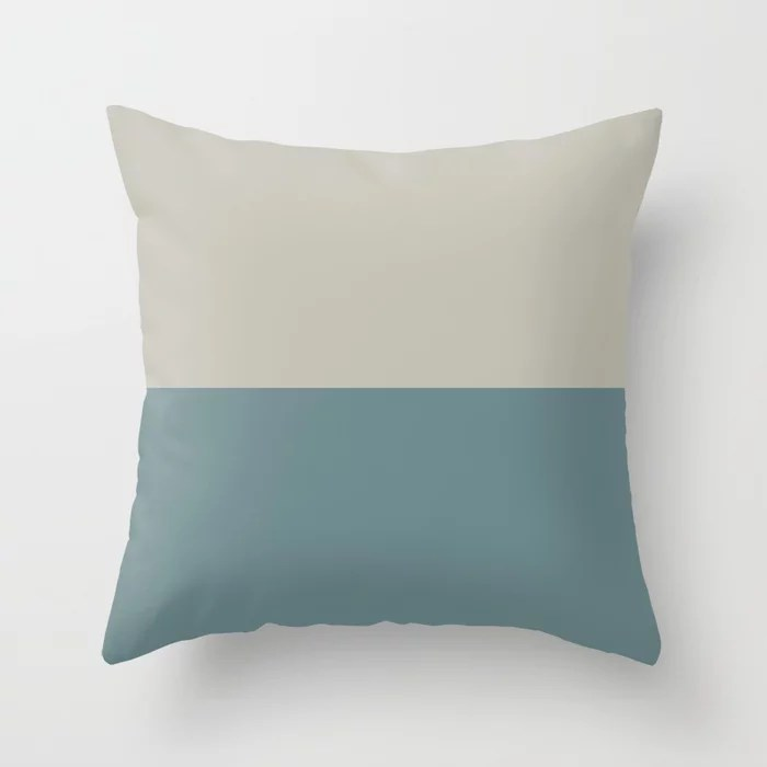 Blue-Green Tan Minimal Horizon Stripe Pattern 2021 Color of the Year Aegean Teal and Winterwood Throw Pillow
