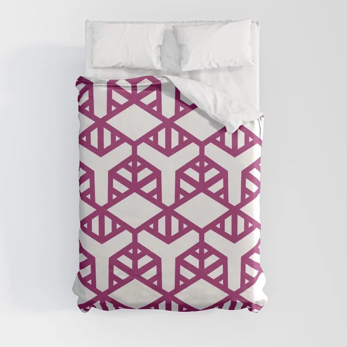Magenta and White Geometric Shape Tile Pattern - Colour of the Year 2022 Orchid Flower 150-38-31 Duvet Cover - color for 2022