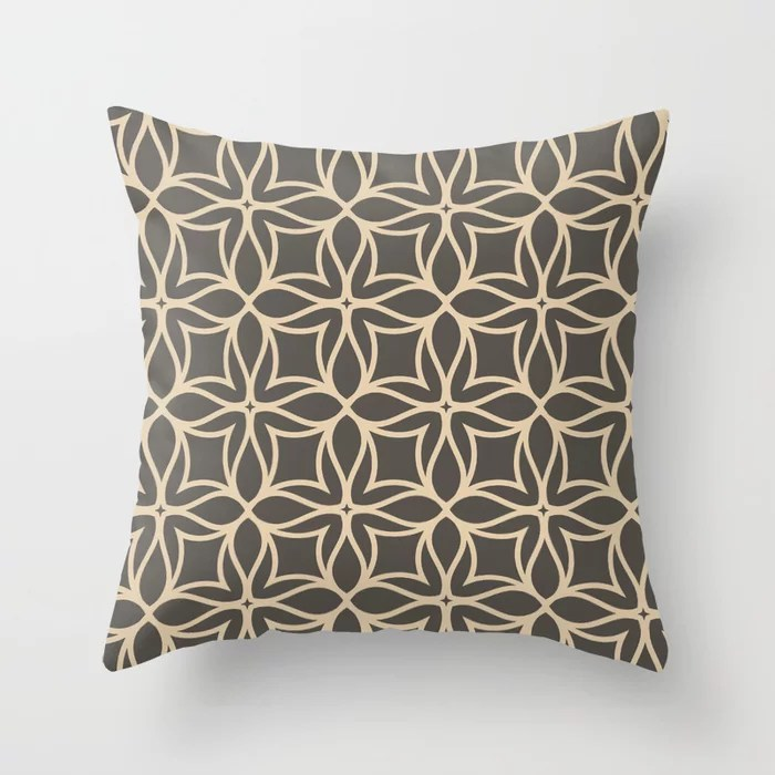 Brown and Tan Line Art Flower Petal Pattern Throw Pillows match and coordinate with Sherwin Williams Paints 2021 Color of the Year Urbane Bronze and Ivoire