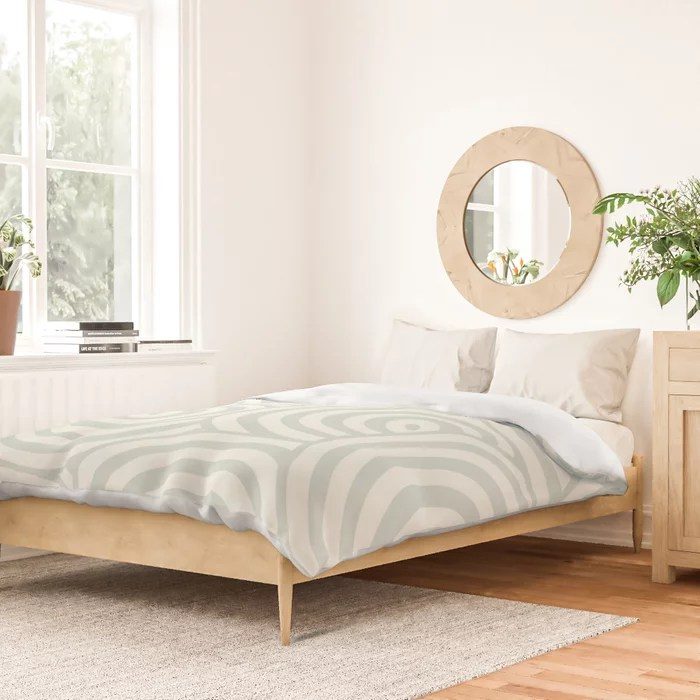 Pastel Green and Cream Hypnotic Circle Pattern Pairs Behr 2022 Color of the Year Breezeway MQ3-21 Duvet Cover. 2022 colour trend