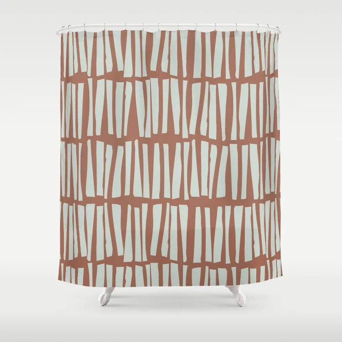 Mint Green and Terracotta Stripe Line Pattern Behr 2022 Color of the Year Breezeway MQ3-21 Shower Curtain. 2022 color trend
