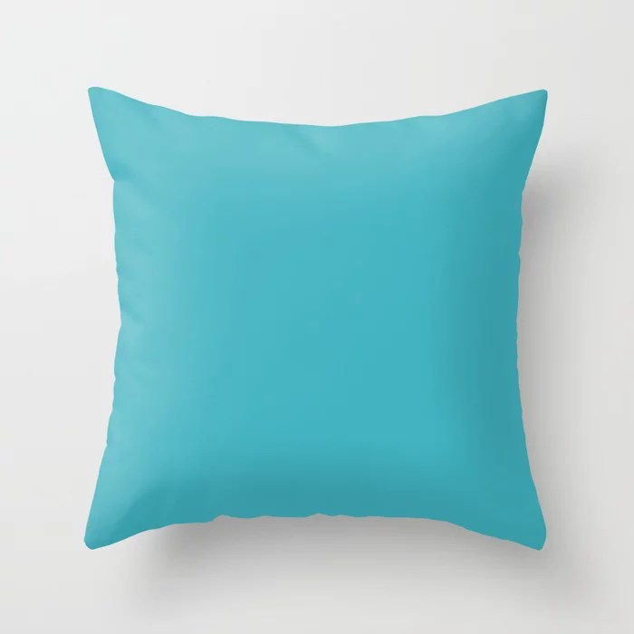 Bright Mid-tone Blue Single Solid Color HGTV 2021 Color Of The Year Accent Shade September Skies Throw Pillow