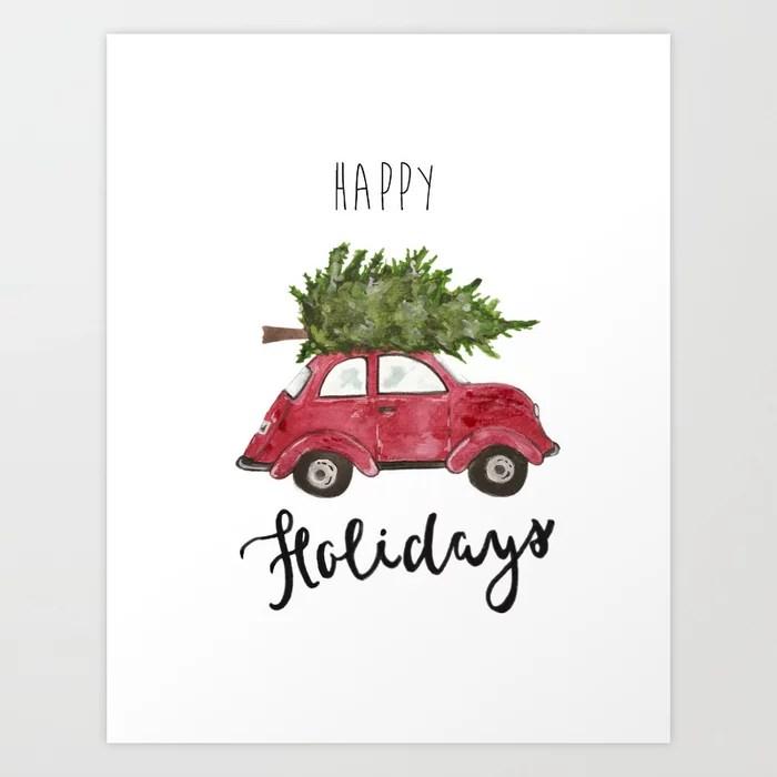 Sunday's Society6 | Happy holidays car with tree art print