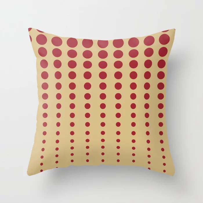 Red and Beige Reduced Polka Dot Pattern 2021 Color of the Year Satin Paprika and Sunlit Brass Throw Pillow