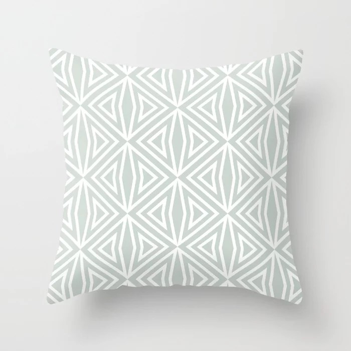 Pastel Green and White Shape Tile Pattern 3 Pairs Behr 2022 Color of the Year Breezeway MQ3-21 Throw Pillow. 2022 color scheme, trending interior design hue.