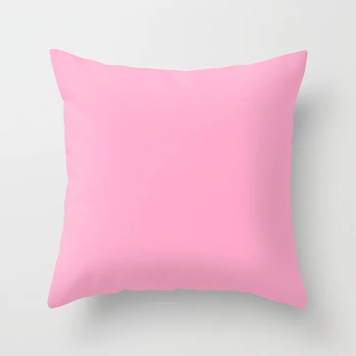 From The Crayon Box – Carnation Pink - Pastel Pink Solid Color Throw Pillow