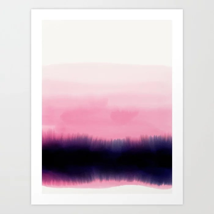 Sunday's Society6 | Watercolor pink sunset art print