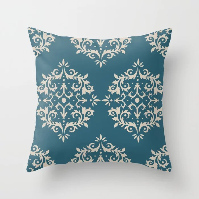 Light Beige Aqua Blue Damask Scroll Pattern: Hues were inspired by and match (pair / coordinate with) 2021 Color of the Year Uptown Ecru & Deep Lagoon Throw Pillow