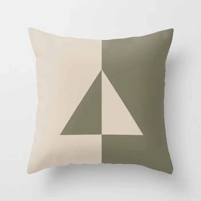 Light Beige Green Minimal Triangle Design: Hues were inspired by and match (pair / coordinate with) 2021 Color of the Year Uptown Ecru & Sage Throw Pillow