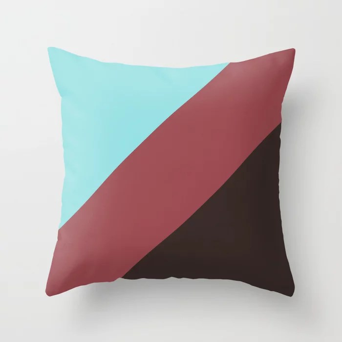 Red Pastel Blue Brown Abstract Line Pattern Pairs HGTV 2021 Color of the Year Passionate Throw Pillow
