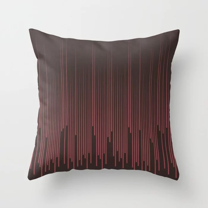 Red and Brown Frequency Line Art Pattern 2021 Color of the Year Passionate and Dark Bronzetone Throw Pillow