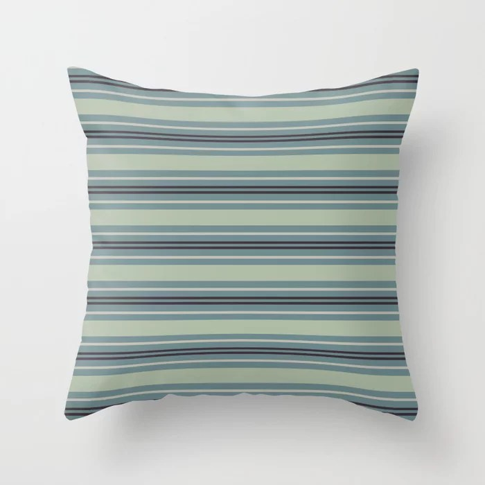 Blue-Green Tan Purple Horizontal Line Pattern 2021 Color of the Year Aegean Teal and Accent Shades Throw Pillow
