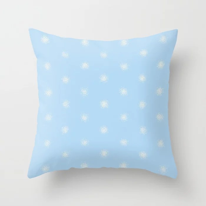 Baby Blue Off-White Splatter Polka Dot Pattern 2021 Color of the Year Wild Blue Yonder Swiss Coffee Throw Pillow