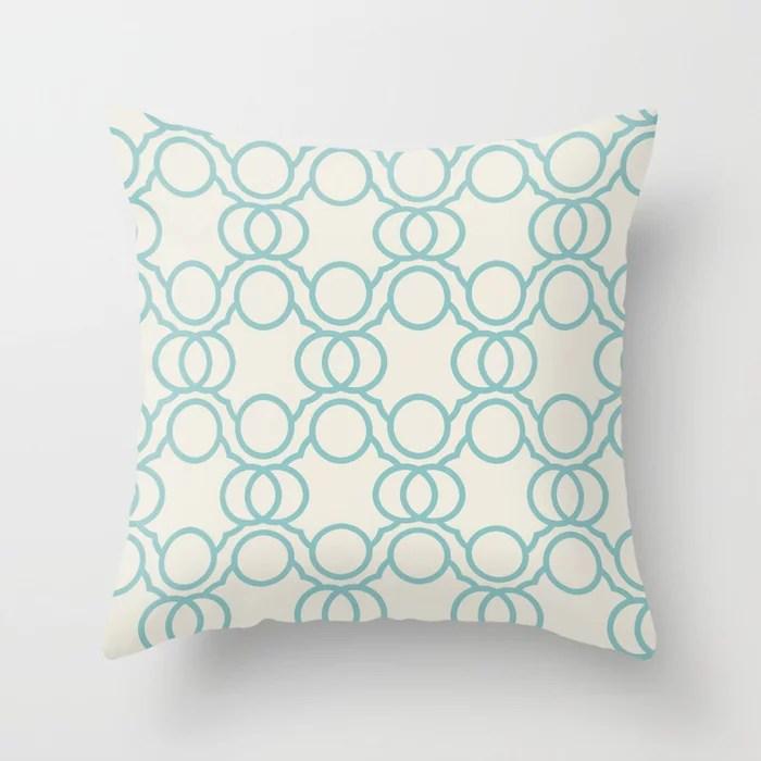 Aquamarine Cream Geometric Circle Pattern 2021 Color of the Year Aqua Fiesta and Horseradish Throw Pillow