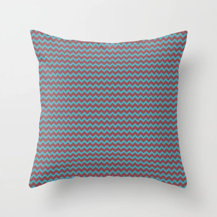 Red and Aqua Chevron Zigzag Line Pattern 2021 Color of the Year Passionate & September Skies Throw Pillow