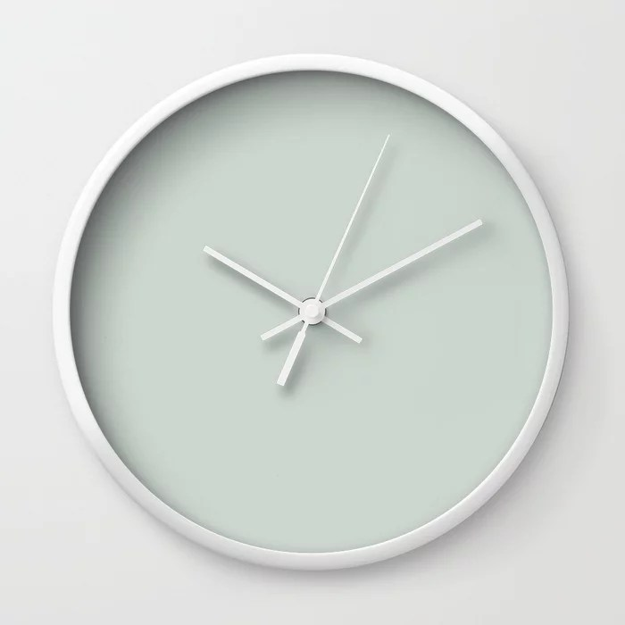 Pastel Green Solid Color wall clocks Pairs Behr 2022 Color of the Year Breezeway MQ3-21. 2022 color scheme, trending interior design hue.