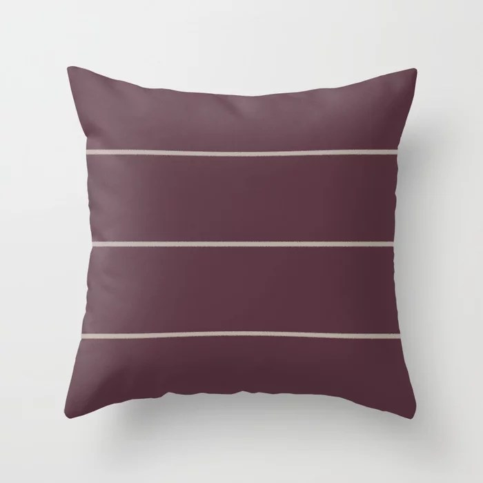 Deep Purple Taupe Gray Sponge Thin Stripe Pattern 2021 Color of the Year Epoch and Fondue Throw Pillow