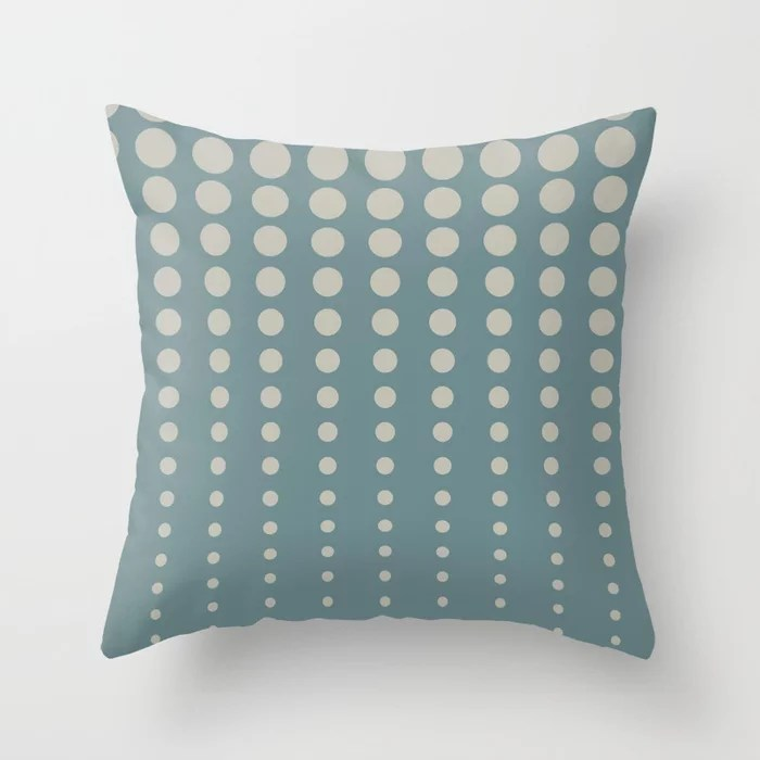 Blue-Green Tan Reduced Polka Dot Pattern 2021 Color of the Year Aegean Teal and Winterwood Throw Pillow