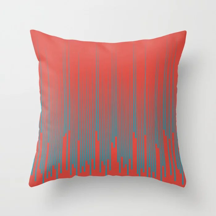 Aqua Blue and Red Frequency Line Art Pattern 2021 Color of the Year AI Aqua and Oxy Fire Throw Pillow