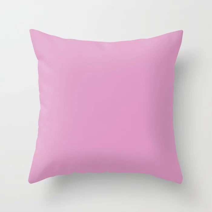 Solid Color Dark Pastel Pink Pairs to Pantone 15-2913 Lilac Chiffon Throw Pillow