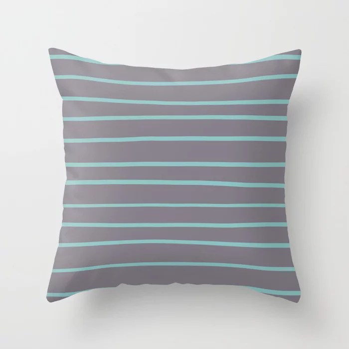 Pastel Teal and Purple Horizontal Stripe Pattern 2021 Color of the Year Aqua Fiesta and Magic Dust Throw Pillow