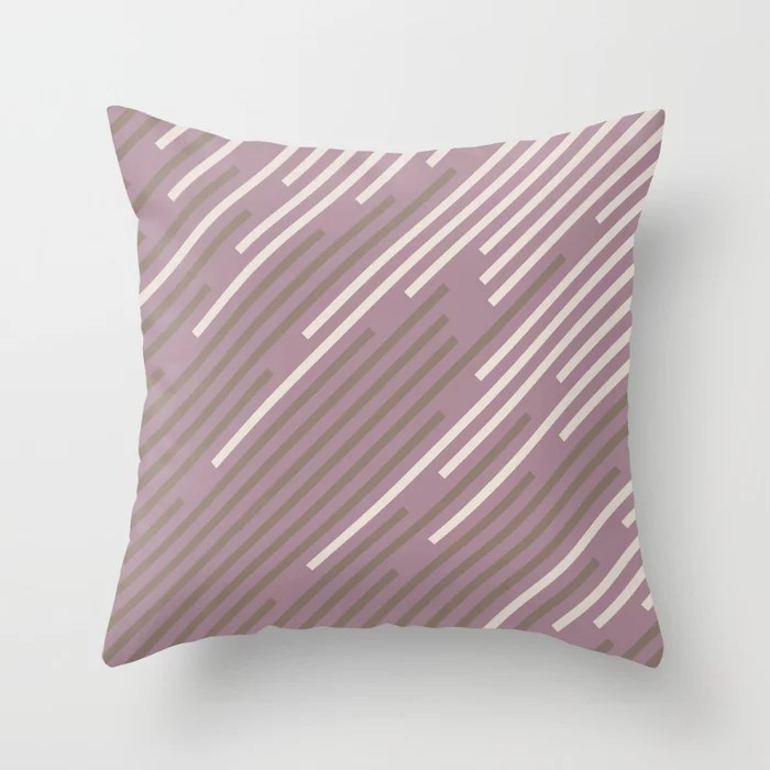 Pastel Purple Pink Mid-tone Brown Creamy Off White 2021 Color of The Year Canyon Dusk Accent Shades Throw Pillow