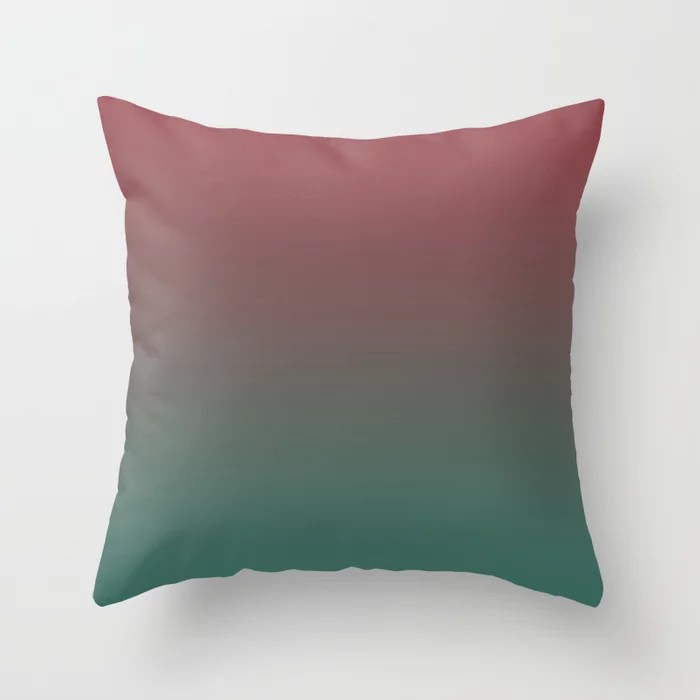 Red and Green Gradient Ombre Fading Blend 2021 Color of the Year Passionate & Cloverfields Throw Pillow