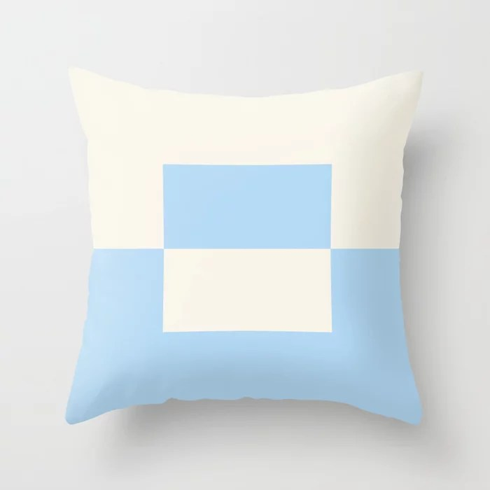Baby Blue Off-White Minimal Square Design 2 2021 Color of the Year Wild Blue Yonder Swiss Coffee Throw Pillow