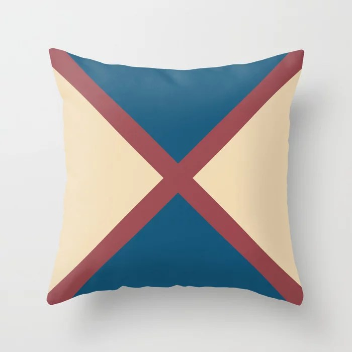 Red Cream Dark Blue Minimal Line Pattern Pairs HGTV 2021 Color of the Year Passionate Throw Pillow
