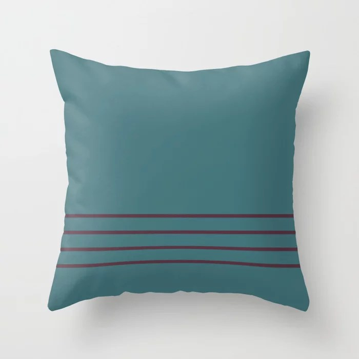 Deep Purple Aqua Thin 4 Stripe Pattern Pairs 2021 Color of the Year Epoch and Whale Tail Throw Pillow